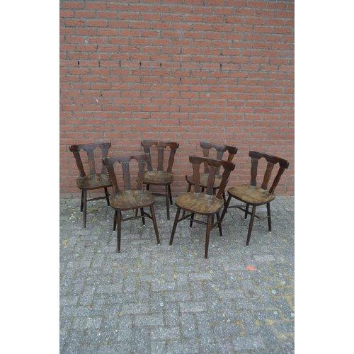 Caféstoelen vintage per set van 6 stoelen
