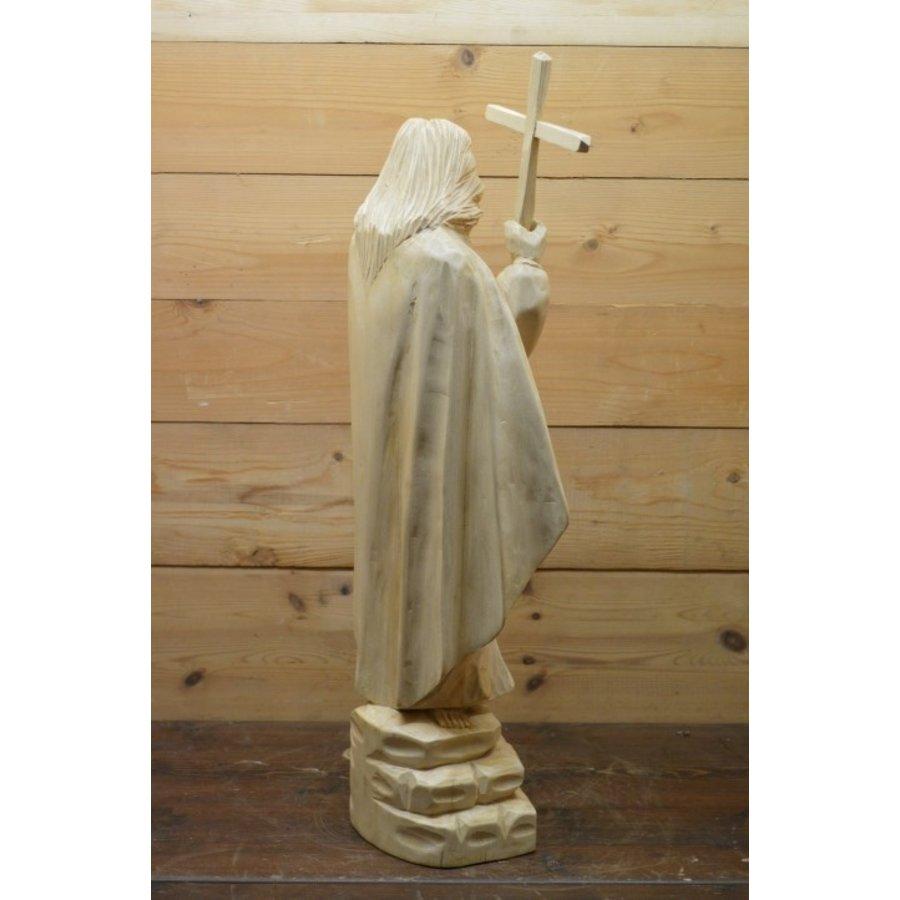Uniek Jezus beeld gesneden uit hout-5