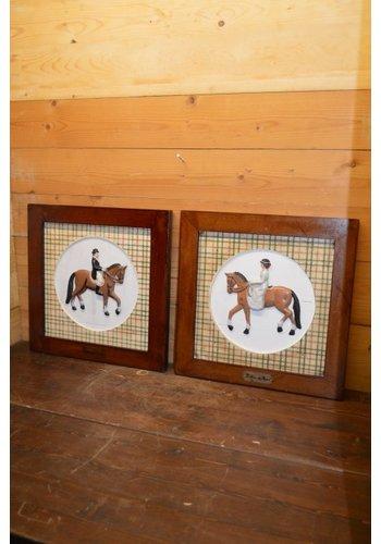 Schilderij set man en vrouw op een paard