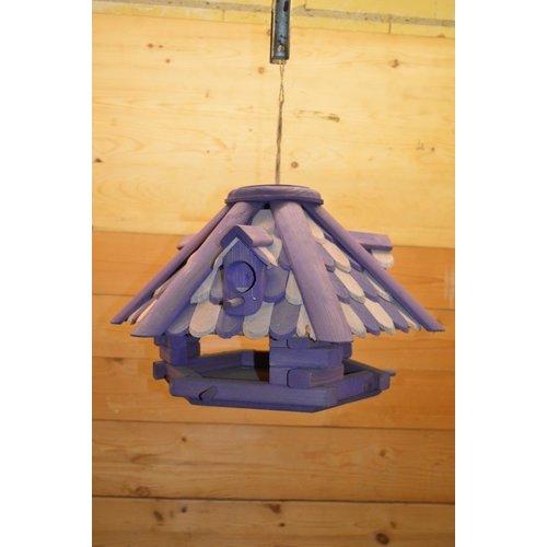 Vogelvoerder huisje van hout in 2 kleuren