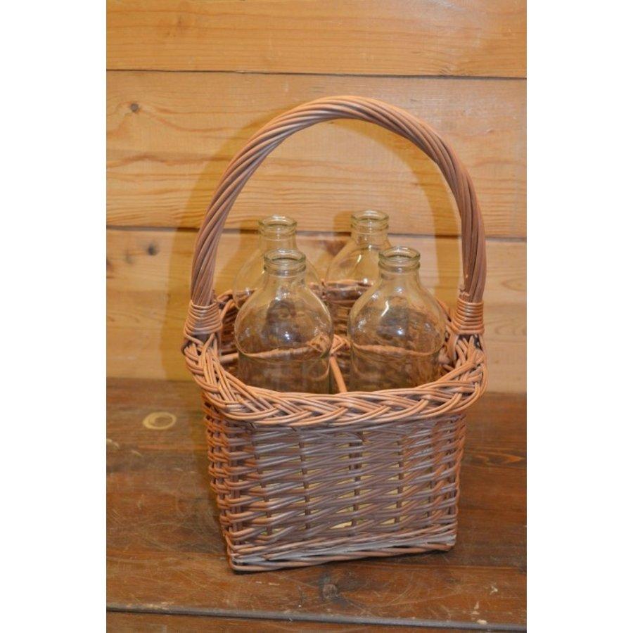 Wilgentenen of rieten mandje met 4 flesjes-1