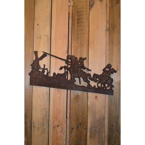 Don Quichot zeldzame wanddecoratie gietijzer