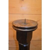 thumb-Kandelaar van eikenhout voor een kaars in een donkere kleur-2