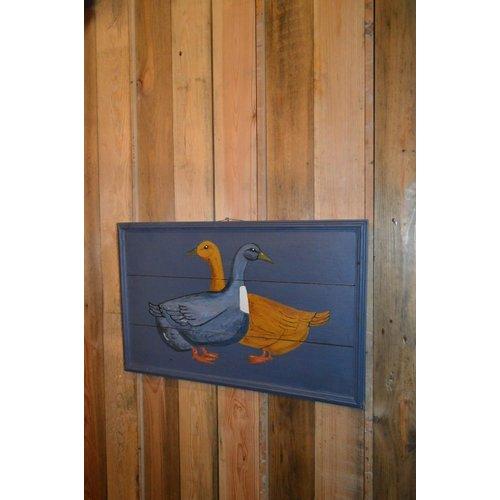 Schilderwerk van 2 eenden op hout