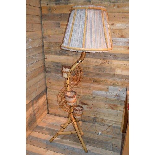 Retro Rohe rotan slanglamp plantenhouder