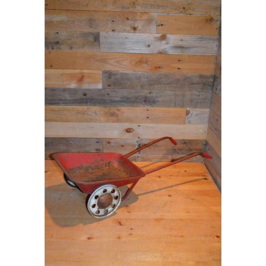 Vintage oude metalen kinderspeelgoed kruiwagen-1