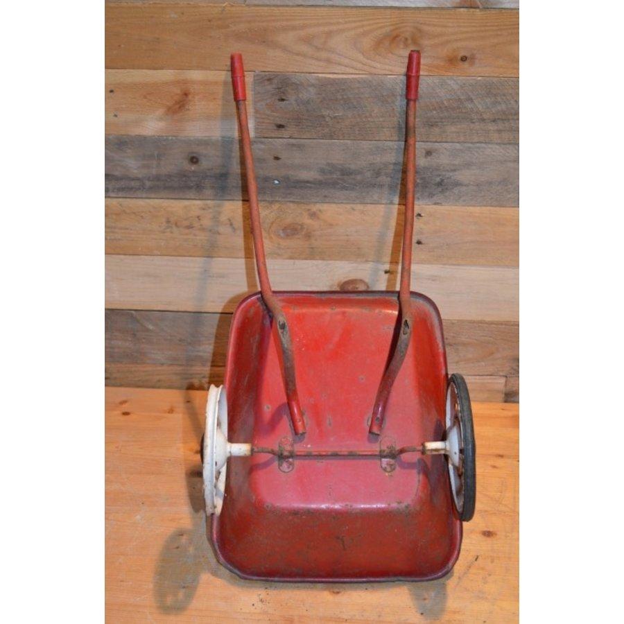Vintage oude metalen kinderspeelgoed kruiwagen-4