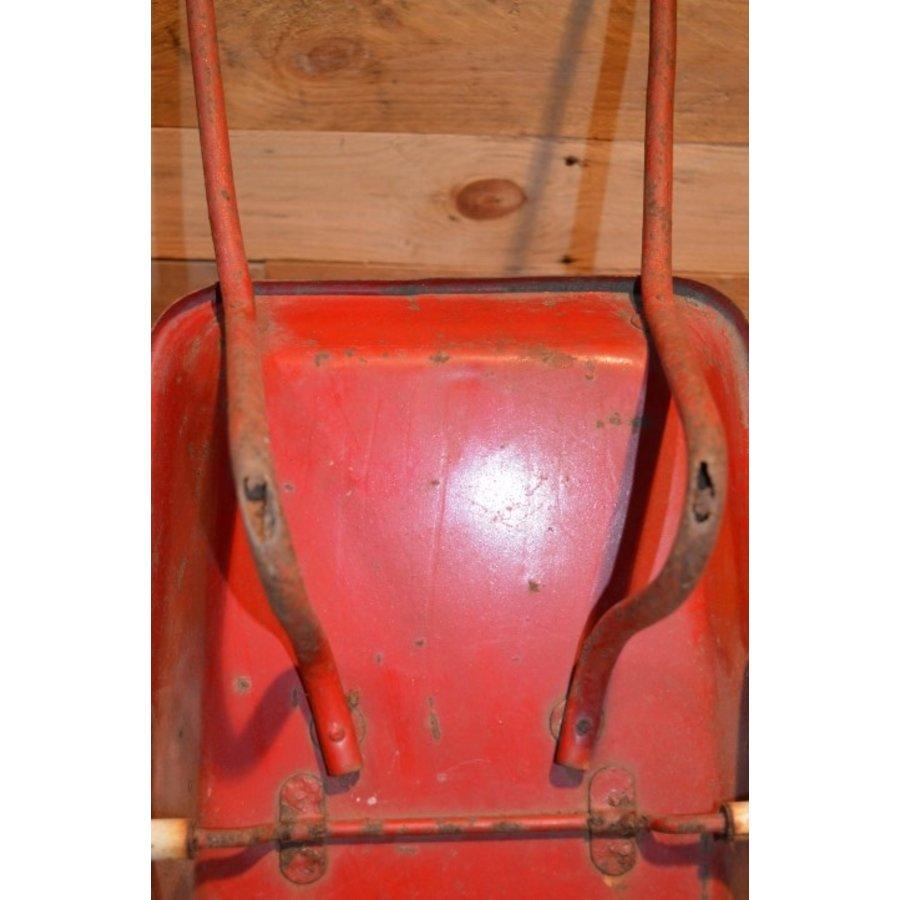 Vintage oude metalen kinderspeelgoed kruiwagen-5