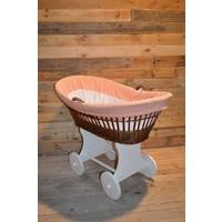thumb-Baby  wiegje op wielen wilgentenen met hout brocante-3