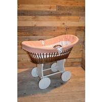 thumb-Baby  wiegje op wielen wilgentenen met hout brocante-1
