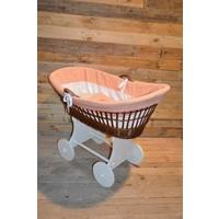 thumb-Baby  wiegje op wielen wilgentenen met hout brocante-5