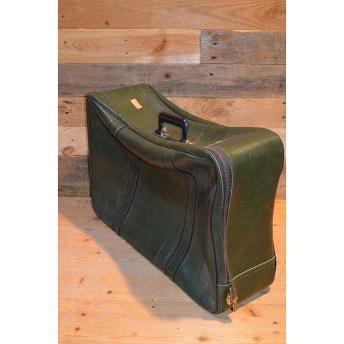 Vintage groene koffer van leer