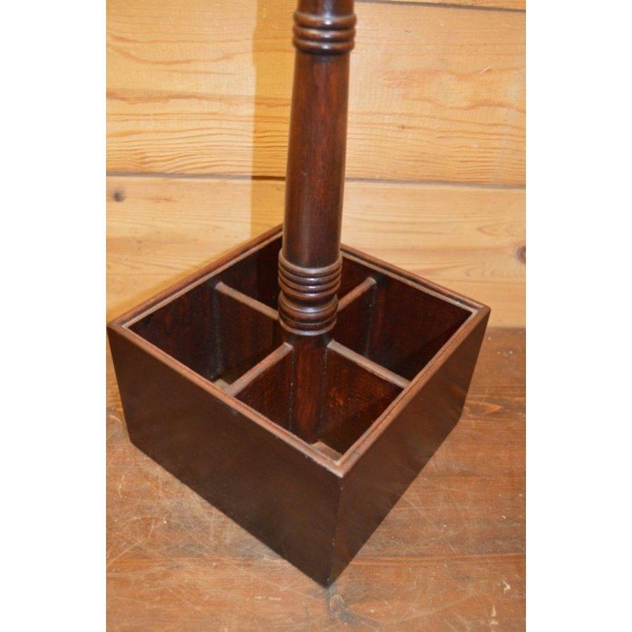 Sierlijke flessenhouder van mahoniehout voor op tafel-3
