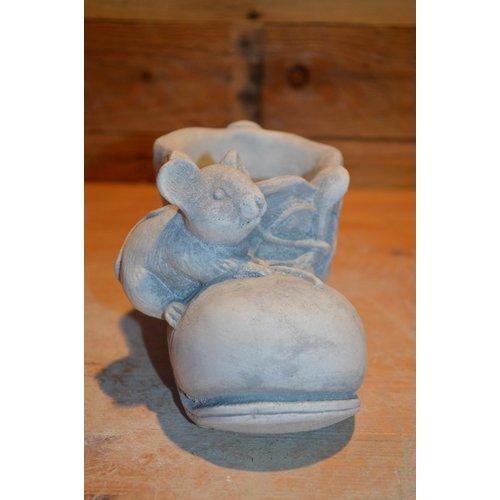 Muis zittend op een schoen