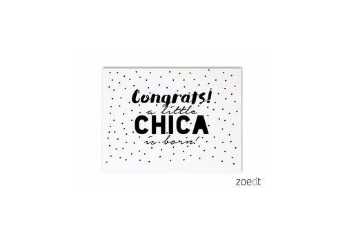Zoedt Kaart Congrats, a little chica is born