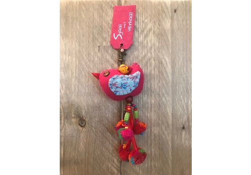 Sjaal met verhaal Tassenhanger vogel roze