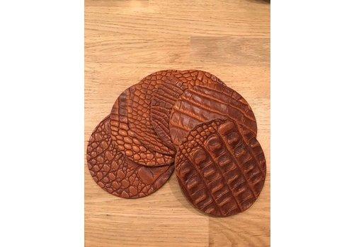 Set leren ronde onderzetters (6x)  - krokodillenprint cognac