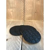 Set leren onderzetters (6x)  - krokodillenprint zwart