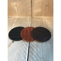 Set leren onderzetters (6x)  - krokodillenprint bruin