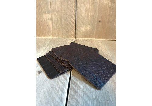 Set vierkante leren onderzetters (6x)  - krokodillenprint bruin