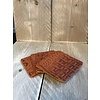 Set vierkante leren onderzetters (6x)  - krokodillenprint cognac