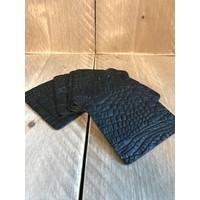 Set vierkante leren onderzetters (6x)  - krokodillenprint zwart