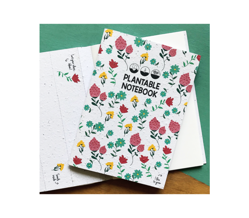 Plantbaar notitieboekje-bloemen