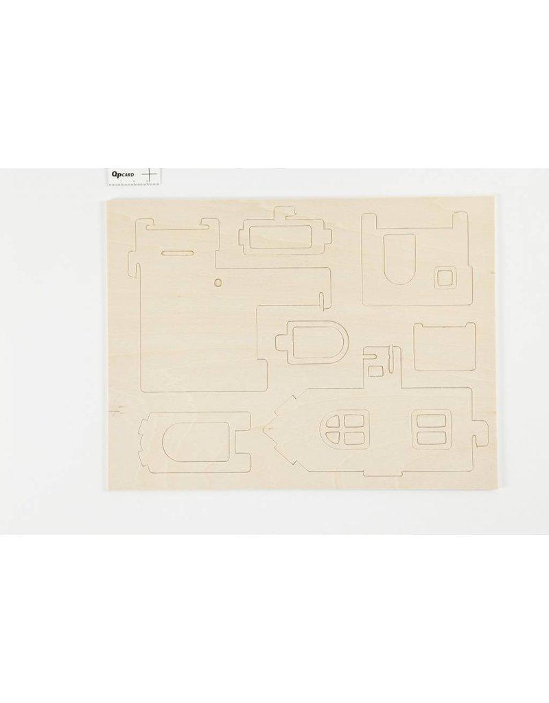 3D Houten huis met balkon, afm 15,8x17,5x19,5, 1 stuk, triplex