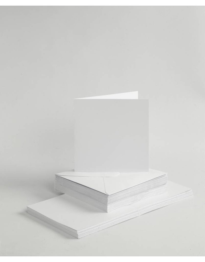 Kaarten & enveloppen, 15x15 cm, 50 sets, wit