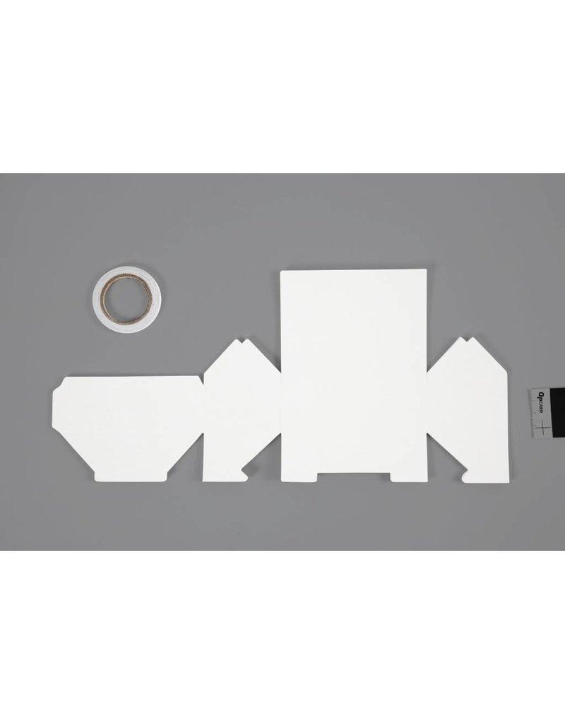 Bungalow, afm 12x6,5x7,5 cm, 230 gr, 8 stuks, wit