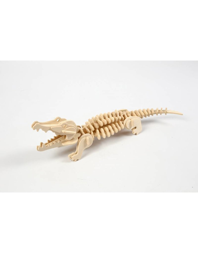 3D Puzzel, krokodil  lxbxh 33x10x10 cm, 1 stuk, triplex