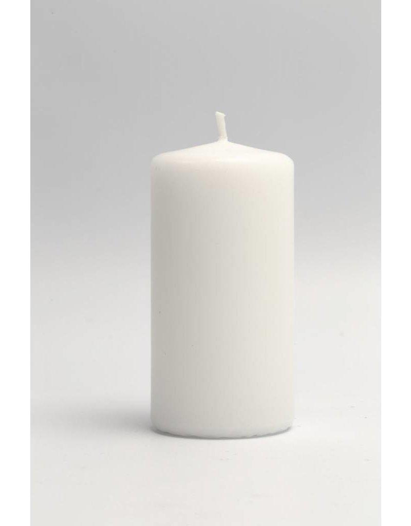 Kaarsen, d: 50 mm, h: 10 cm, wit, per stuk