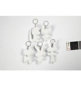 Dieren van textiel met sleutelhanger, h: 610 cm, 5 stuks
