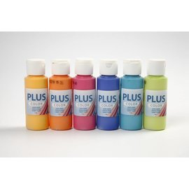 Plus Color acrylverf, 6x60 ml, kleurrijk, assorti