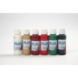 Plus Color acrylverf, 6x60 ml, Kerst verf