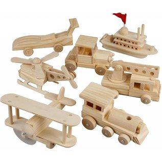 Transportmiddelen, afm 5x6x11 cm, grenen, tractor