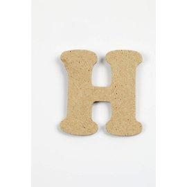 Letter - H, h: 4 cm, dikte 2,5 mm, MDF, per stuk