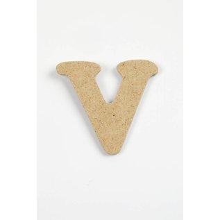 letter- V, h: 4 cm, dikte 2,5 mm, MDF, per stuk