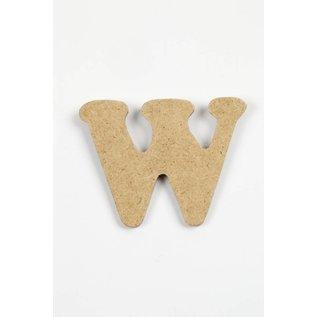 letter- W, h: 4 cm, dikte 2,5 mm, MDF, per stuk