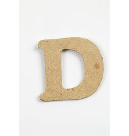 Letter - D, h: 4 cm, dikte 2,5 mm, MDF, per stuk