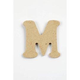 Letter - M, h: 4 cm, dikte 2,5 mm, MDF, per stuk