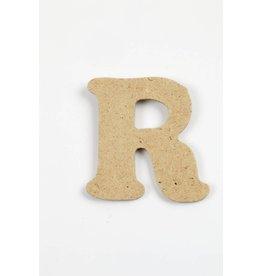 Letter - R, h: 4 cm, dikte 2,5 mm, MDF, per stuk