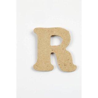 letter- R, h: 4 cm, dikte 2,5 mm, MDF, per stuk