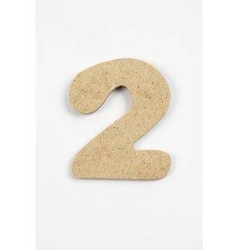 Cijfer- 2, h: 4 cm, dikte 2,5 mm, MDF, per stuk