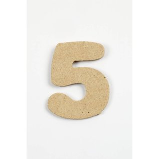 cijfer- 5, h: 4 cm, dikte 2,5 mm, MDF, per stuk