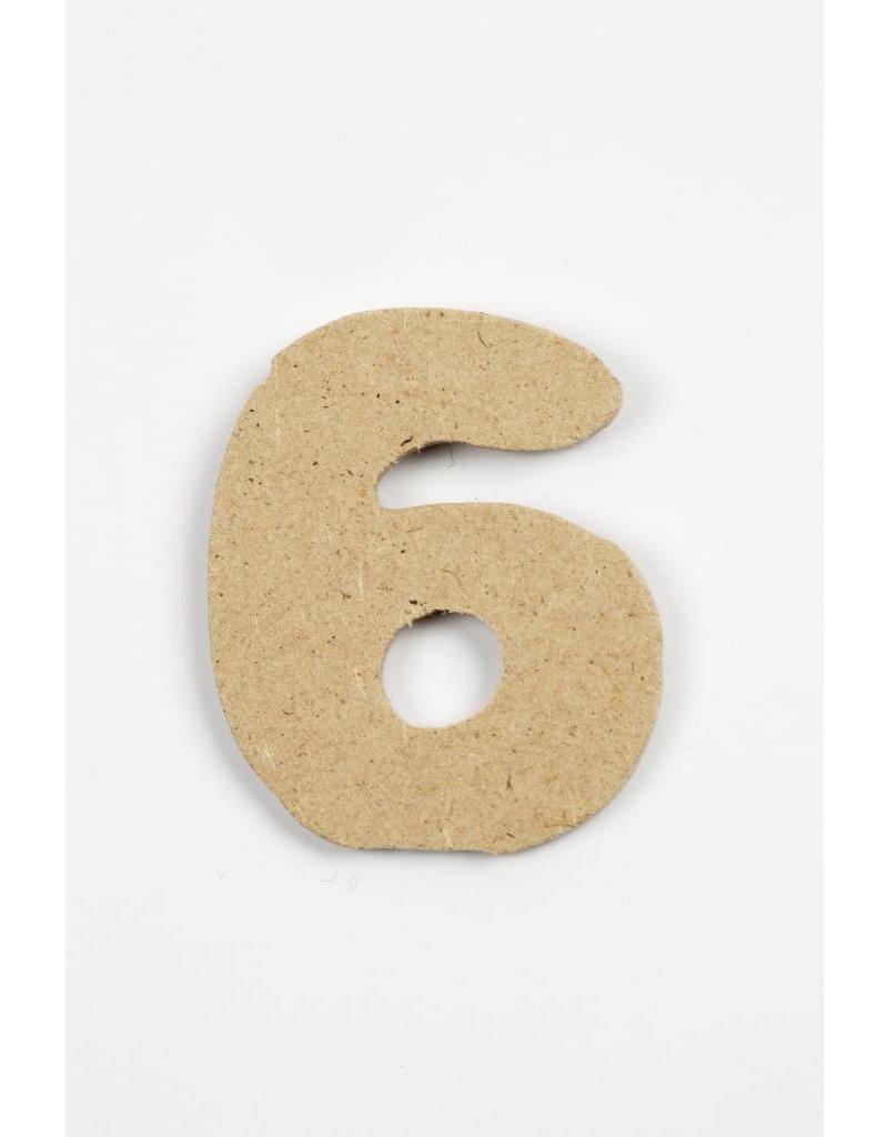 cijfer- 6, h: 4 cm, dikte 2,5 mm, MDF, per stuk