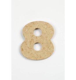 Cijfer- 8, h: 4 cm, dikte 2,5 mm, MDF, per stuk