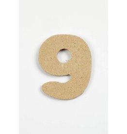 Cijfer- 9, h: 4 cm, dikte 2,5 mm, MDF, per stuk