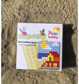 Sleutelhangers 2x Drenkelingenhuisje Pixel Classic