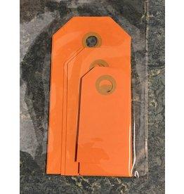Cadeaulabels, Zakje Oranje  MIX, 2x groot, 2x middel, 6x klein